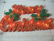 Vintage Merry Christmas Lighted Wall/window Sign