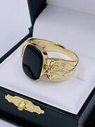 Vintage 14k Yellow Gold Onyx Men's Ring Hand Etched 11.5sz