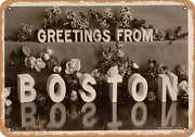 Metal Sign - Massachusetts Postcard - Greetings From Boston [front] 2