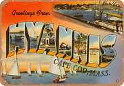 Metal Sign - Massachusetts Postcard - Greetings From Hyannis, Cape Cod, Mass.