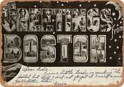 Metal Sign - Massachusetts Postcard - Greetings From Boston [front] 13
