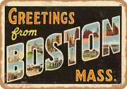Metal Sign - Massachusetts Postcard - Greetings From Boston, Mass. [front] 7