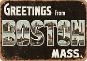 Metal Sign - Massachusetts Postcard - Greetings From Boston, Mass. [front] 1