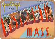 Metal Sign - Massachusetts Postcard - Greetings From Plymouth, Mass.