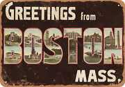 Metal Sign - Massachusetts Postcard - Greetings From Boston, Mass. [front] 2