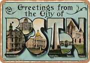 Metal Sign - Massachusetts Postcard - Greetings From The City Of Boston [front]