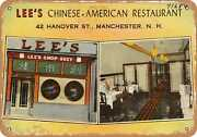 Metal Sign - New Hampshire Postcard - Leeand039s Chinese-american Restaurant 42 Han