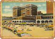 Metal Sign - New Jersey Postcard - Beach In Front Of Chalfonte Hotel Atlantic