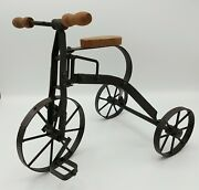 Vintage Antique Style Miniature Tricycle Metal And Wood Toy For Display 12 X 9