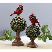 Selling Only 1 Christmas Cardinal And Holly Topiary Finials Table Decor