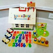 Vintage Fisher Price Little People 923 Play Family School House, Wood Figures