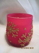 Vintage Red And White Snowflake Votive Candle Holders...set Of 2..sold By Avon