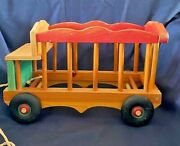 Vintage Wooden Circus Wagon Antique Wood Cart Pull Toy 12 X 7 1/2 X 8
