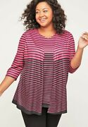 Catherines Skylight Striped Duet Tunic. Pink Stripe. 4x. Bust 64.