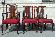 English Queen Anne 6 Dining Chairs Mahogany Armchair And Side Antique Maple And Co.