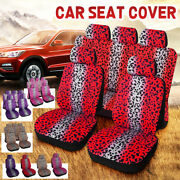 Universal Car Truck Suv Front Rear Seat Cover Protector Cushion Leopard Print