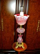 Fenton L G Wright Coin Dot Honeycomb Cranberry Lamp Extremely Rare Gwtw