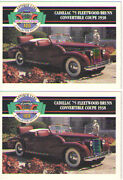 1938 Cadillac 75 Fleetwood Baseball Card Sized Cards - Lot Of 2 - Must See