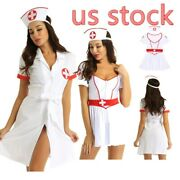 Us Womens Nurse Costume Role Play Sexy Lingeries Set Fancy Dress Cosplay Outfits
