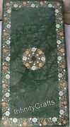 30 Inches Marble Coffee Table Top Inlay Semi Precious Gemstones Dining Table