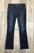 American Eagle Kick Boot Stretch Jeans Womens Size 00 Dark Blue Low Rise 27x29