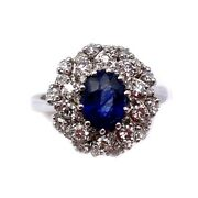 Ring Daisy Sapphire - 2.20-2.40 Ct - And Diamonds - 1.10-1.20 Ct 6.5 Gr