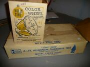 Vtg Aluminum Christmas Tree 6-1/2and039 Foot W/ Holly Time Color Wheel Light Lot Nice