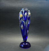 Czech Art Glass Sealed Metals Vase By Oldrich Lipsky, Exbor Signed