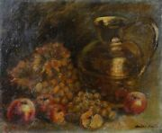 Antique Oil On Canvas Still Life With Fruit Dand039 Fall And Copper Signed