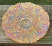 Fenton Peacock And Urn Marigold Carnival Glass Flat Plate
