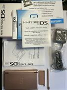 Nintendo Ds Lite Metallic Rose Handheld System With Box Charger Manual Near Mint