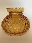 6.5 Vintage Amber Diamond Quilted Glass Hurricane Replacement Lamp Shade Ruffle