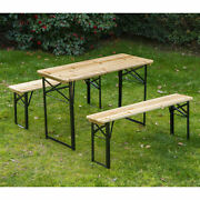 Outsunny 6ft Folding Wooden Picnic Beer Table Benches German Style 20 Wide Wood