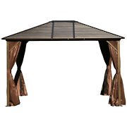 10x12 Ft Metal Patio Gazebo Hardtop Outdoor Canopy With Mosquito Net And Curtain