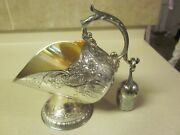 Vintage Silverplated Sugar Scuttle Bowl With Scoop By Leonard V/g Used Condition