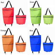 Portable Foldable Luggage Rolling Trolley Shopping Cart Basket Bag Tote Wheels