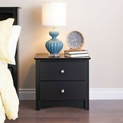 Wooden End Side Bedside Table Accent Nightstand Bedroom With 2 Drawers Black