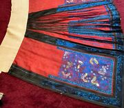 Antique 19th/ Early 20th C Qi'ing Chinese Embroidered Silk Skirt Embroidery 2