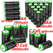 Lot Aa / Aaa / C / D / 9v Cell Battery Ni-mh Rechargeable Batteries W/ Case