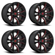 Set 4 24 Fuel D712 Rage 24x12 Gloss Black Red Tinted Clear 8x180 Wheels -44mm