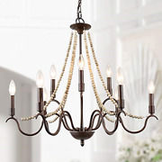 Laluz Farmhouse Chandelier For Dining Room, 9-light Rustic Chandelier With Wood