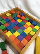 Vintage Lot Of 175+ Mixed Colored Childrens Wooden Building Blocks Toy 6+lbs
