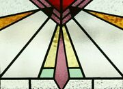 Antique Arts And Crafts Deco Mission Bungalow Stained Leaded Glass Transom Window