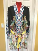 Nwt, Johnny Was Multicolor Rayon Boho Embroidered Belted 'perth Kimono' Med 298