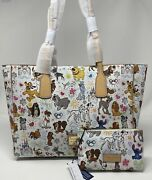 Nwt Genuine Dooney And Bourke Disney Paw Prints Dog Sketch Tote And Cosmetic Case