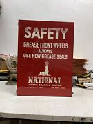 Vintage National Motor Bearing Co Wall Storage Cabinet Seal Logo Red Excellent