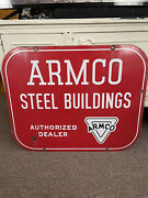 Antique Porcelain Sign Armco Double Sided