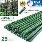 Usa 25pcs 2/3/4/5ft Metal Garden Plant Stakes Plastic Coated Steel Plant Sticks