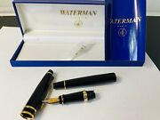 Waterman Expert Ii Black Lacquer Fountain Pen Yellow Trim M Point Box Papers Exc