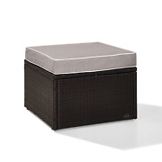 Outdoor Ottoman Palm Harbor All Weather Resin Wicker Rust Resistant Steel Frame